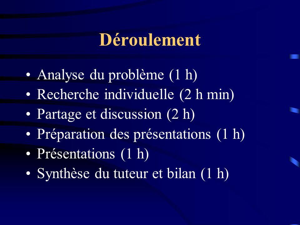 Déroulement Analyse du problème (1 h) Recherche individuelle (2 h min)