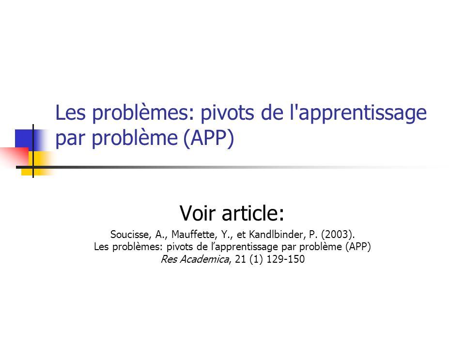 Les problèmes: pivots de l apprentissage par problème (APP)