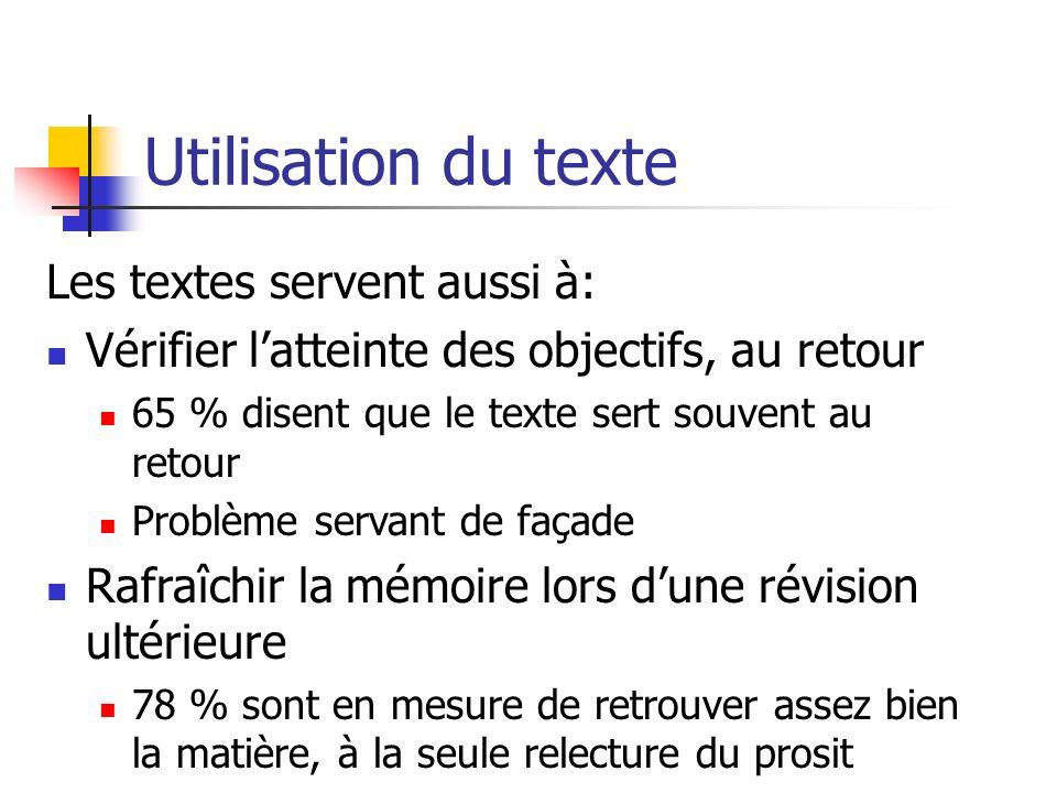 Utilisation du texte Les textes servent aussi à: