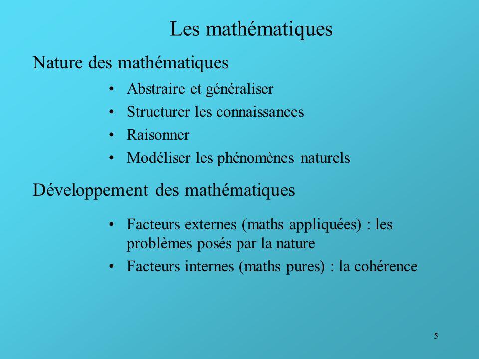 Les mathématiques Nature des mathématiques