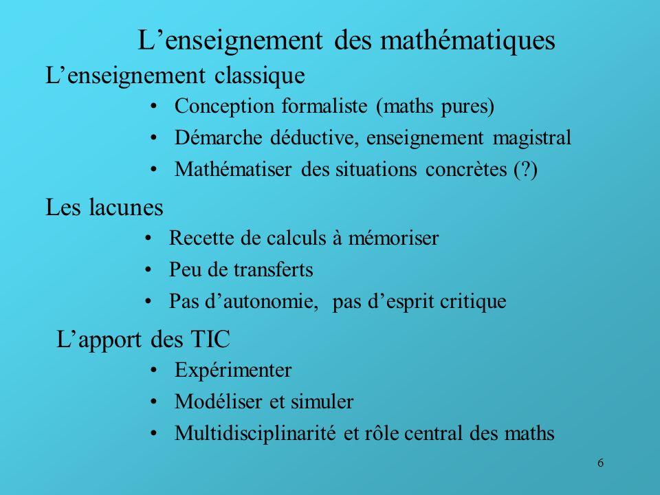 L'enseignement des mathématiques