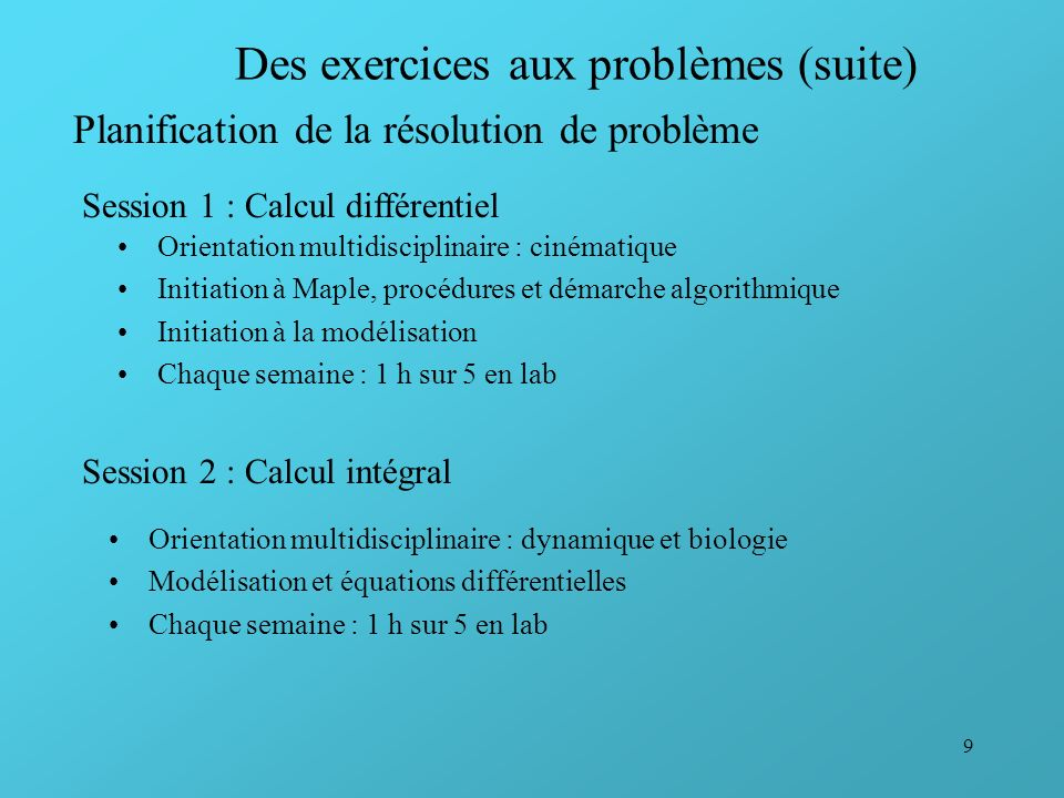 Des exercices aux problèmes (suite)