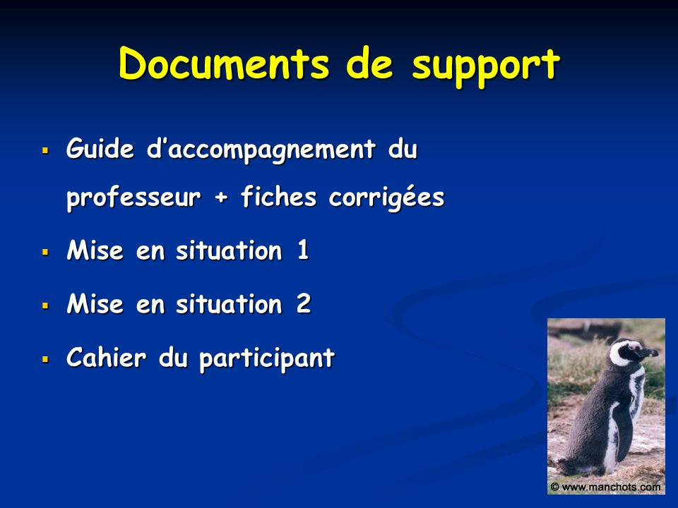 Documents de support Guide d'accompagnement du professeur + fiches corrigées. Mise en situation 1.