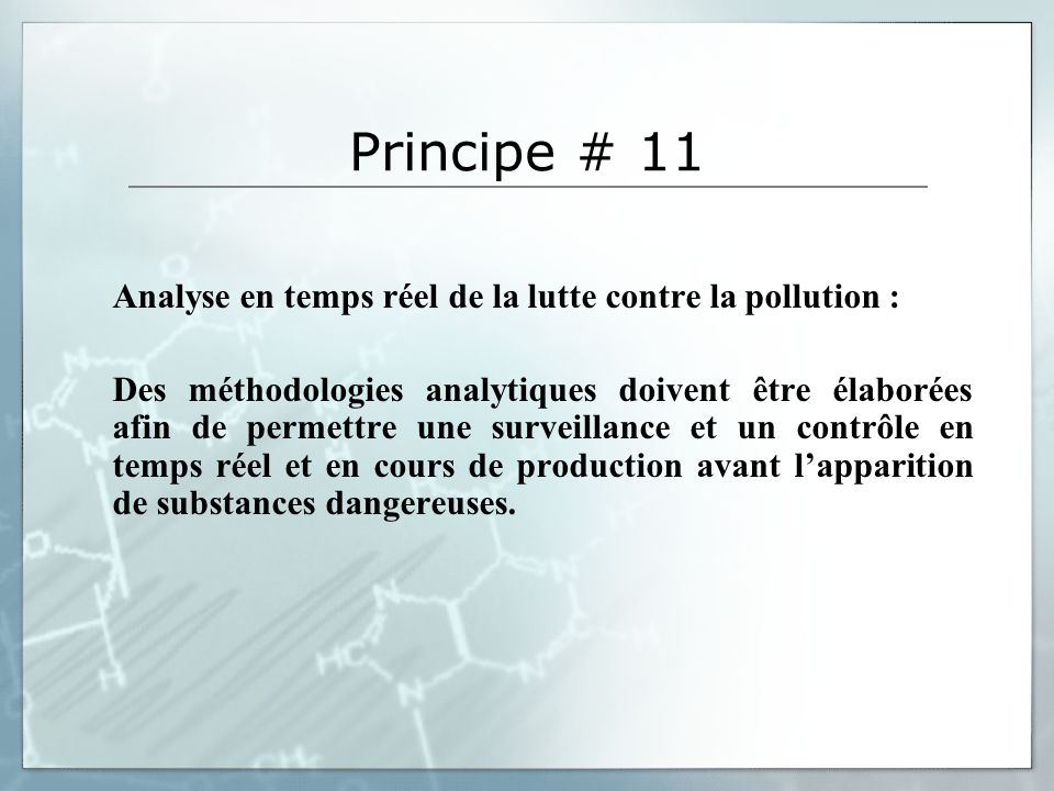 Principe # 11 Analyse en temps réel de la lutte contre la pollution :