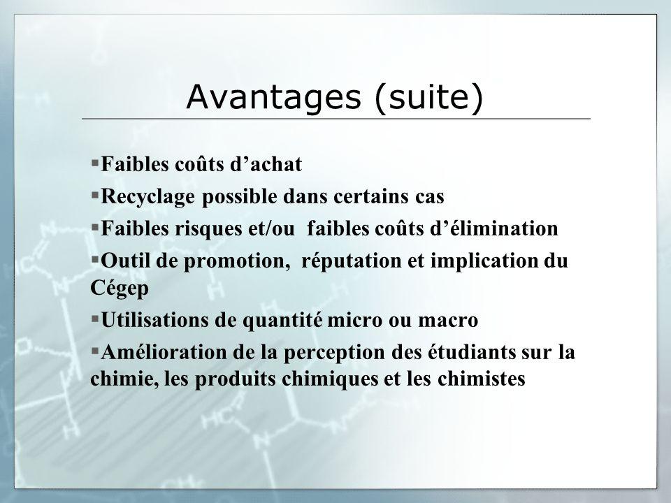 Avantages (suite) Faibles coûts d'achat