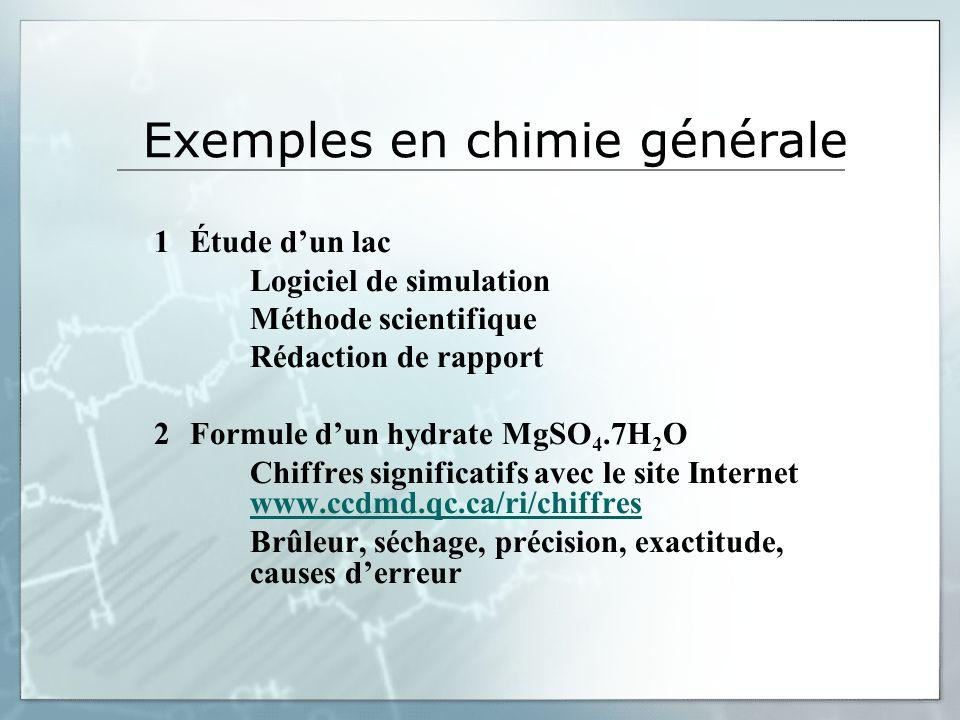 Exemples en chimie générale