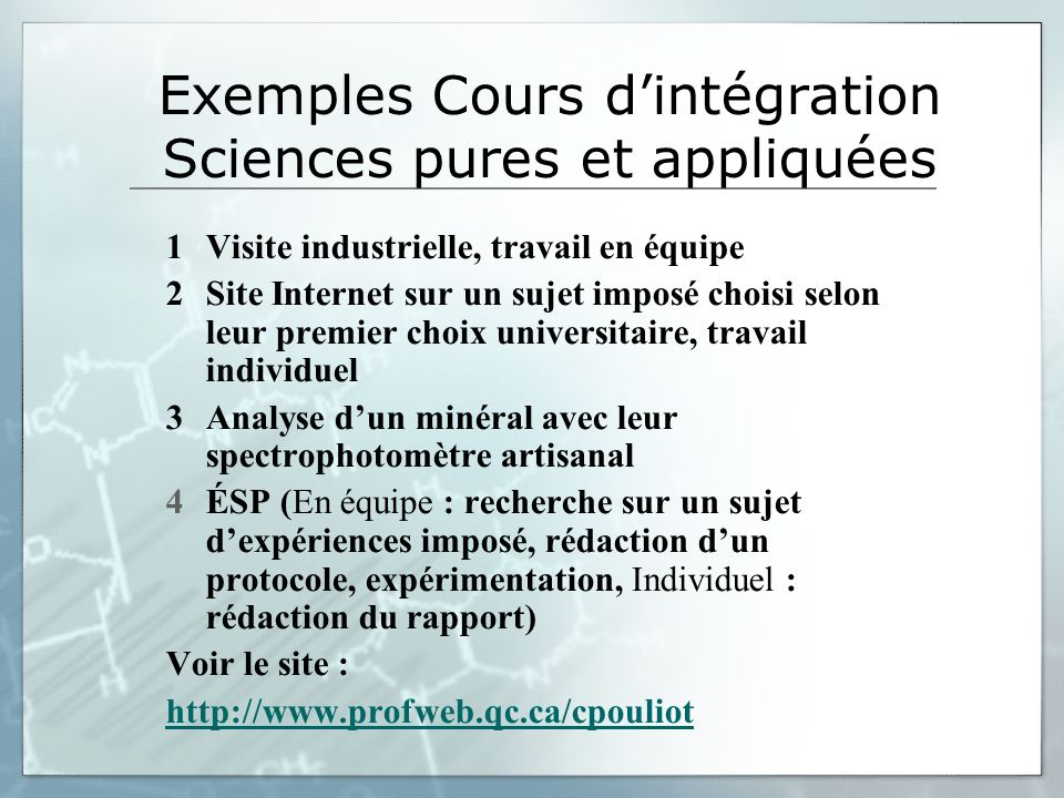 Exemples Cours d'intégration Sciences pures et appliquées