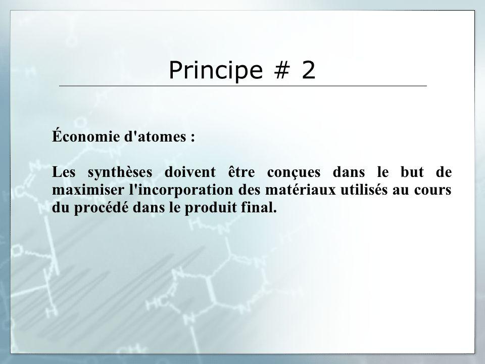 Principe # 2 Économie d atomes :