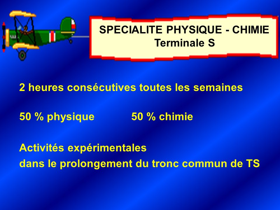 SPECIALITE PHYSIQUE - CHIMIE Terminale S