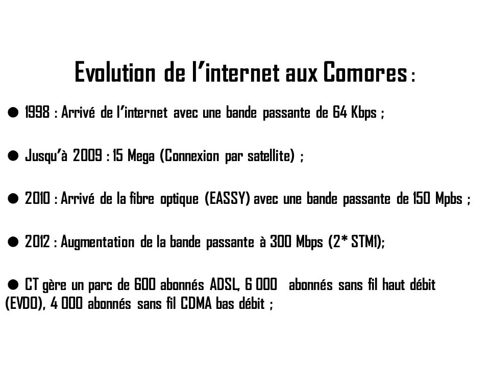 Evolution de l'internet aux Comores :