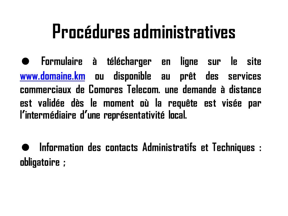 Procédures administratives