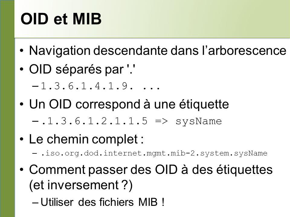 OID et MIB Navigation descendante dans l'arborescence
