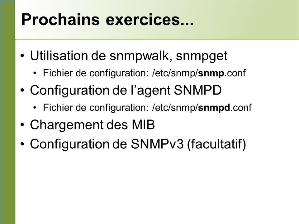 Prochains exercices... Utilisation de snmpwalk, snmpget