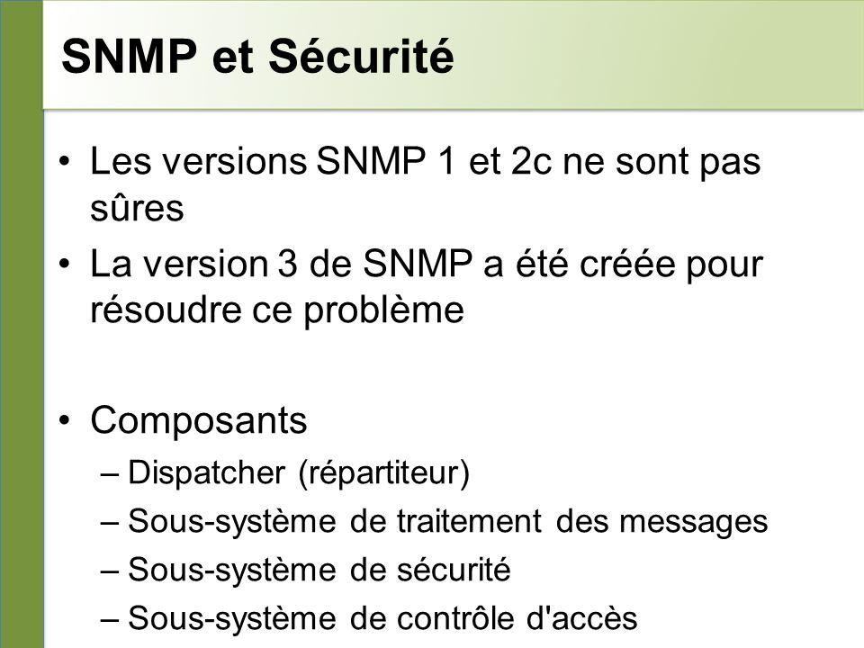 SNMP et Sécurité Les versions SNMP 1 et 2c ne sont pas sûres