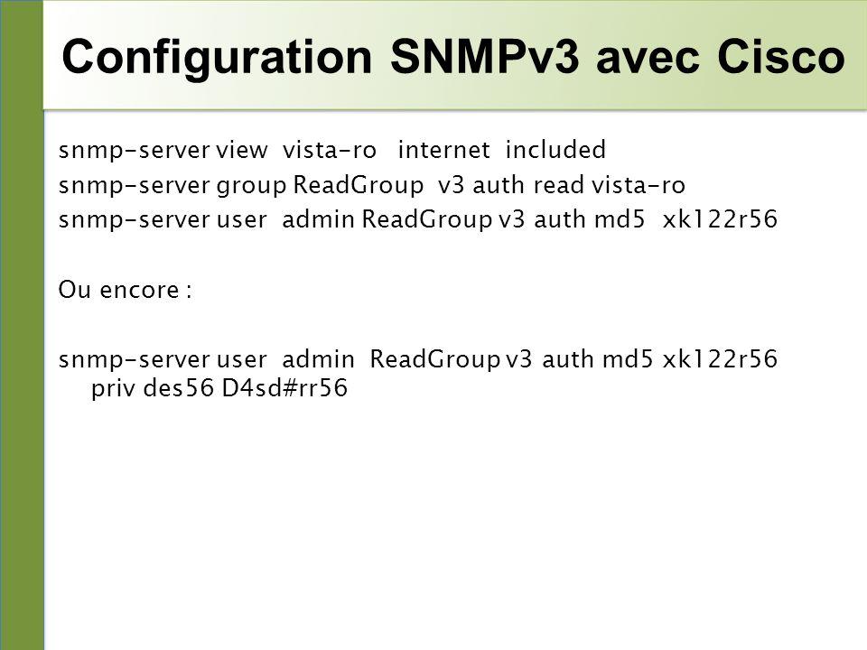 Configuration SNMPv3 avec Cisco