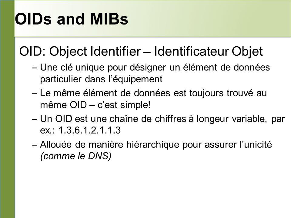 OIDs and MIBs OID: Object Identifier – Identificateur Objet