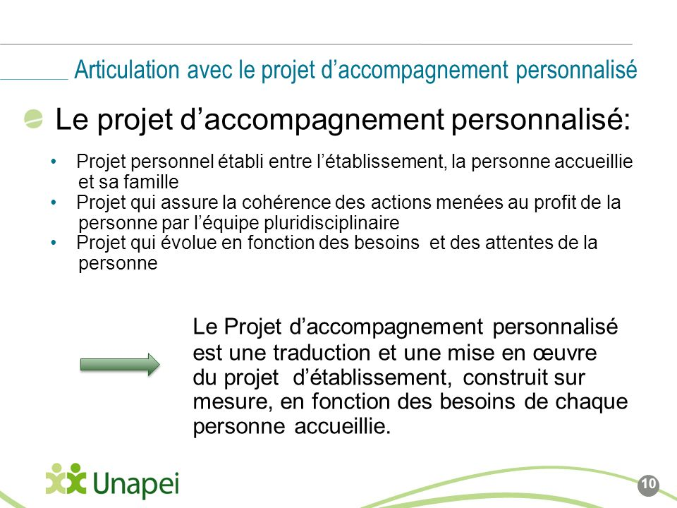 Articulation avec le projet d'accompagnement personnalisé