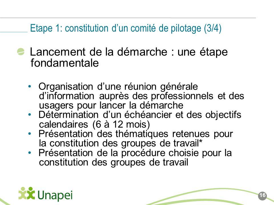 Etape 1: constitution d'un comité de pilotage (3/4)