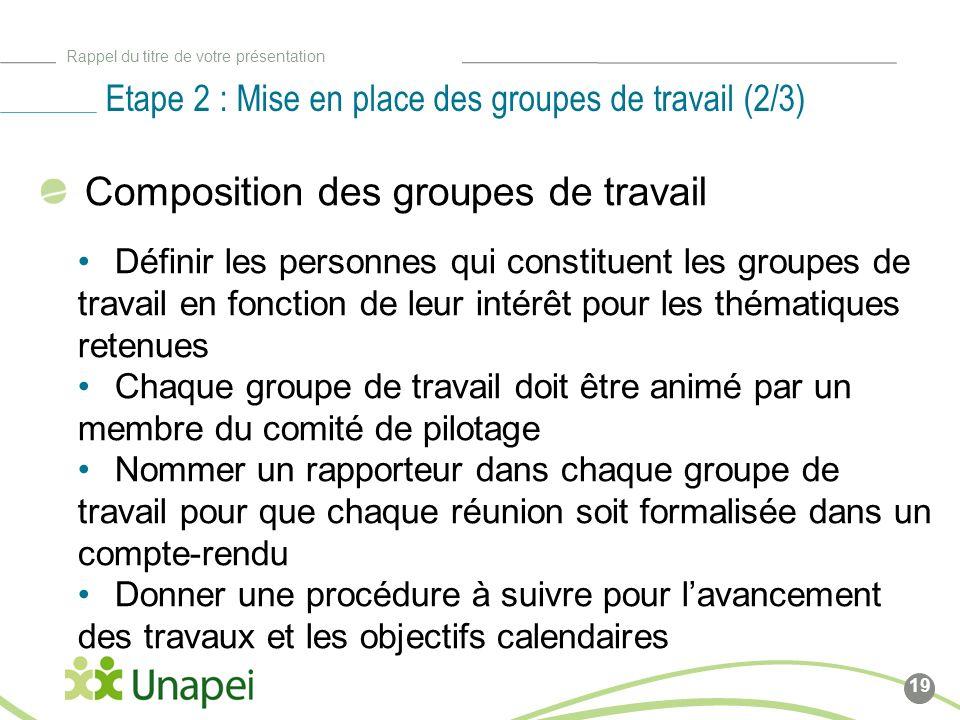 Etape 2 : Mise en place des groupes de travail (2/3)