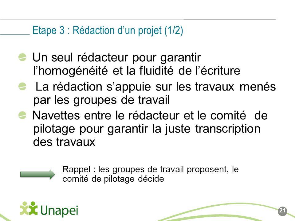 Etape 3 : Rédaction d'un projet (1/2)