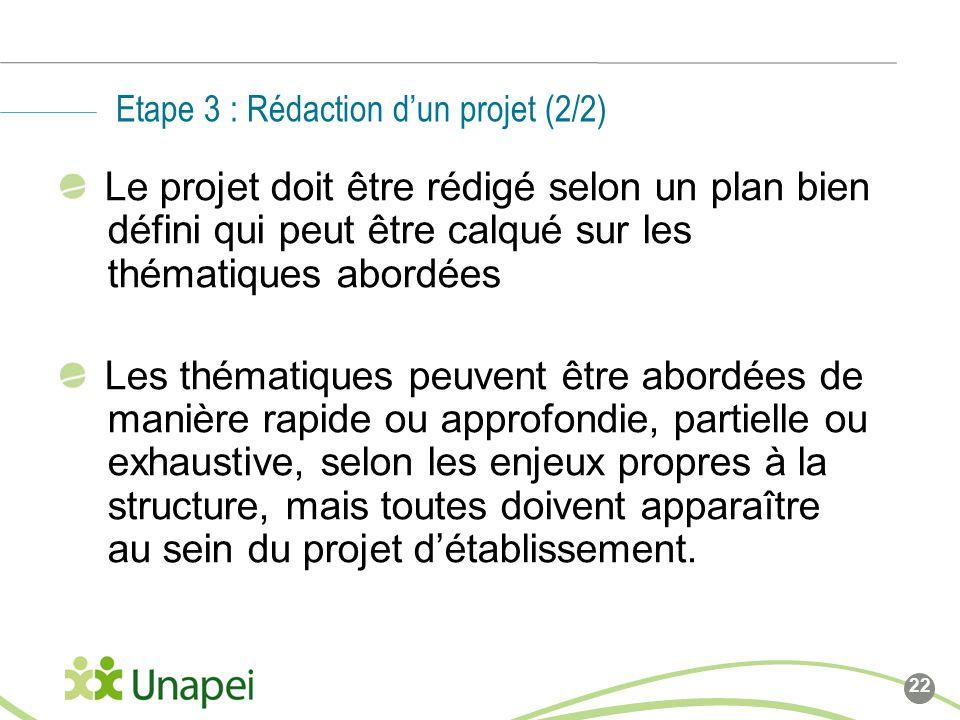 Etape 3 : Rédaction d'un projet (2/2)