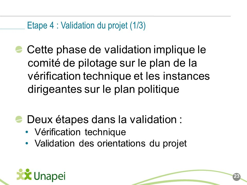 Etape 4 : Validation du projet (1/3)