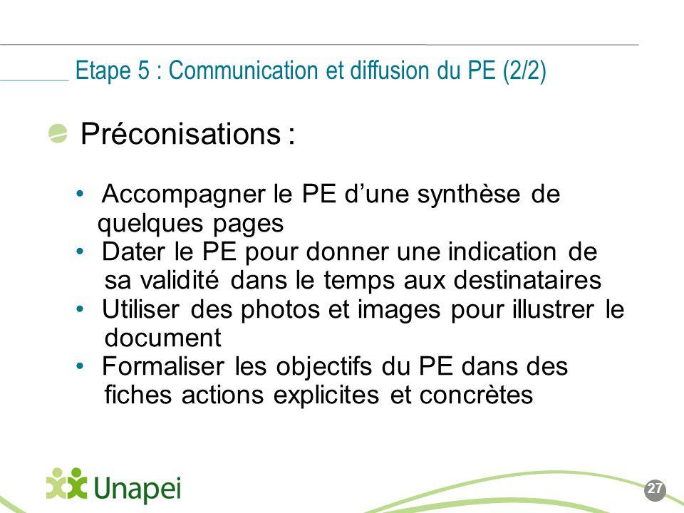 Etape 5 : Communication et diffusion du PE (2/2)
