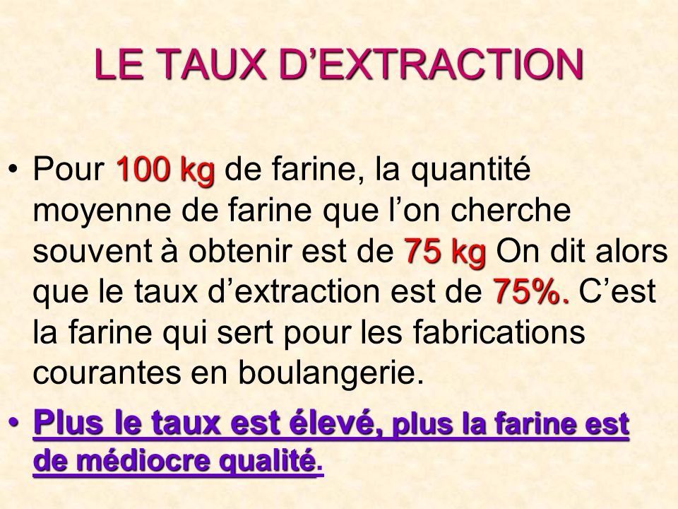 LE TAUX D'EXTRACTION
