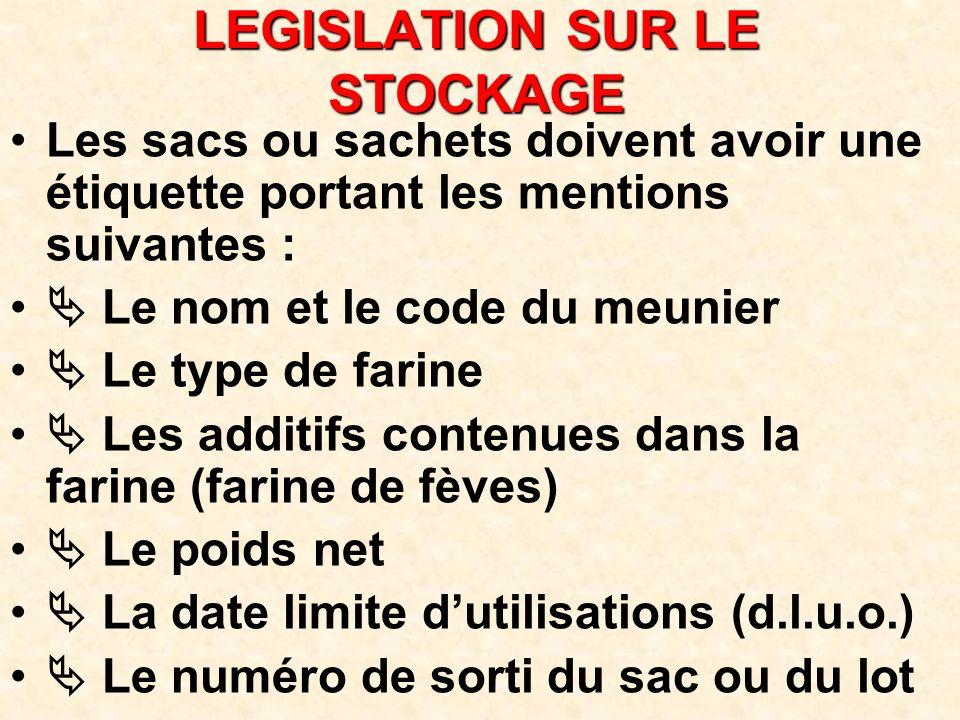 LEGISLATION SUR LE STOCKAGE