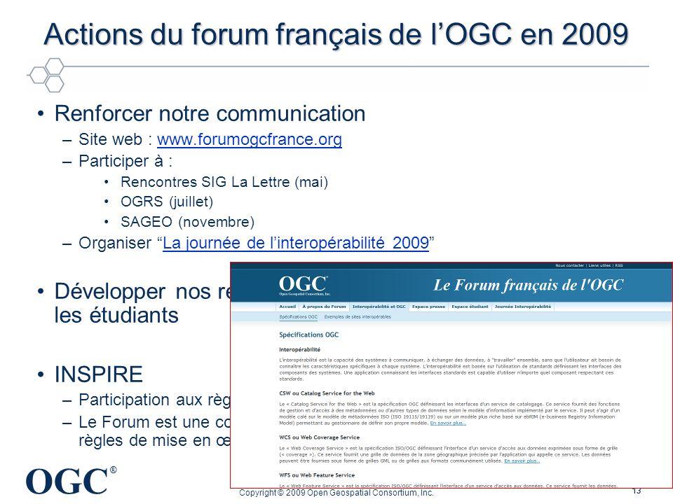 Actions du forum français de l'OGC en 2009