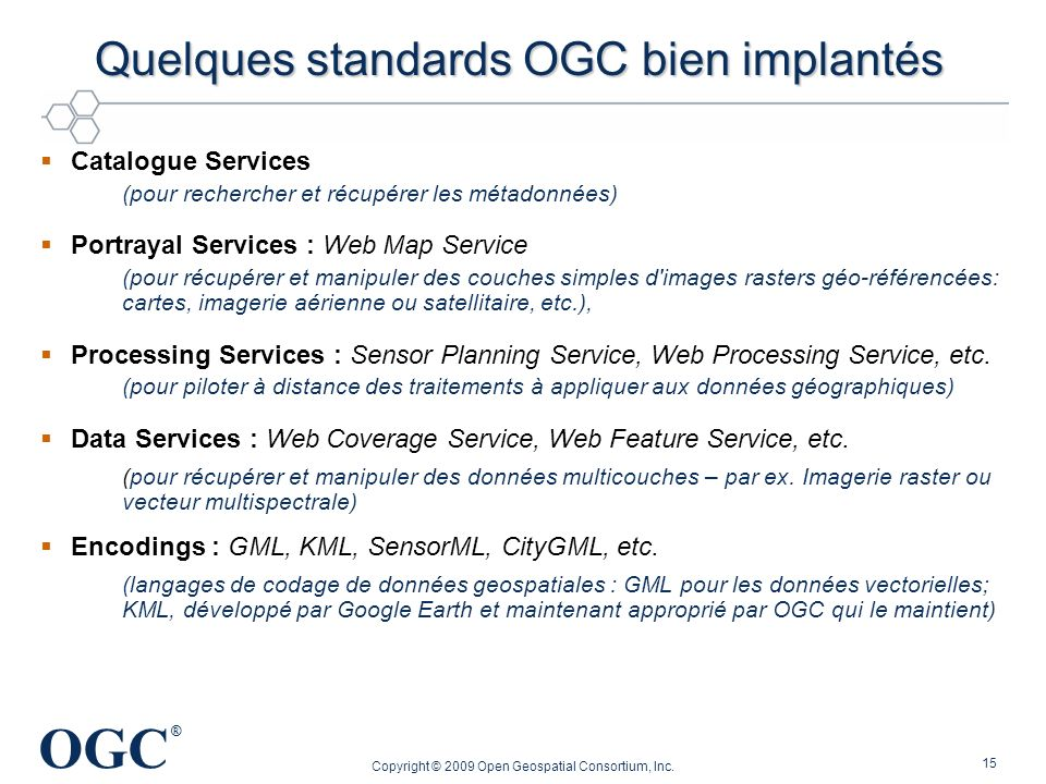 Quelques standards OGC bien implantés
