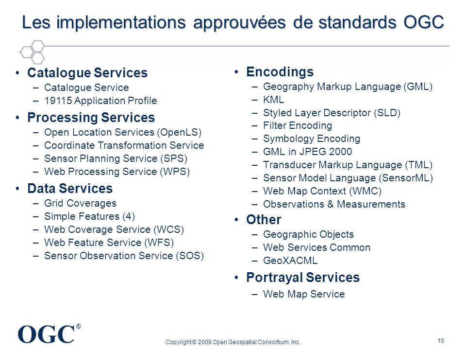 Les implementations approuvées de standards OGC