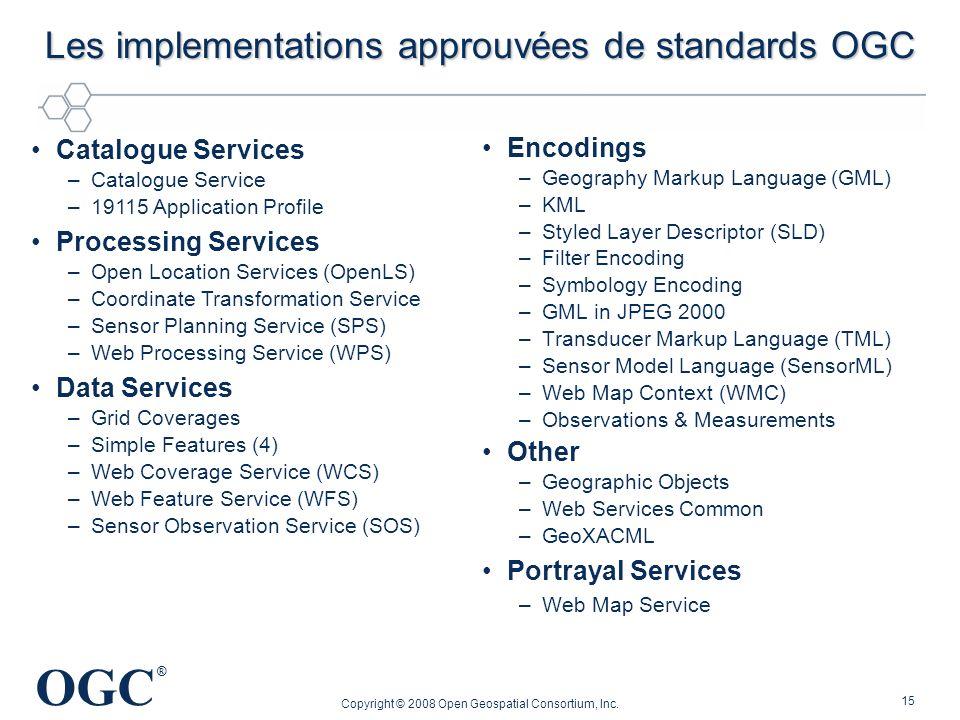 Les implementations approuvées de standards OGC
