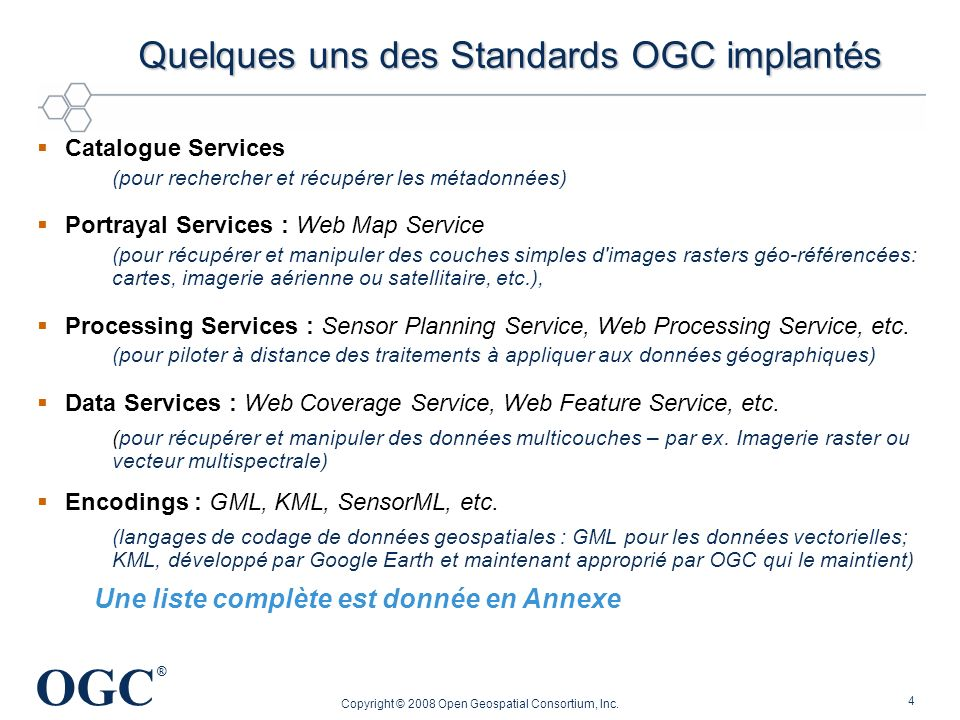 Quelques uns des Standards OGC implantés