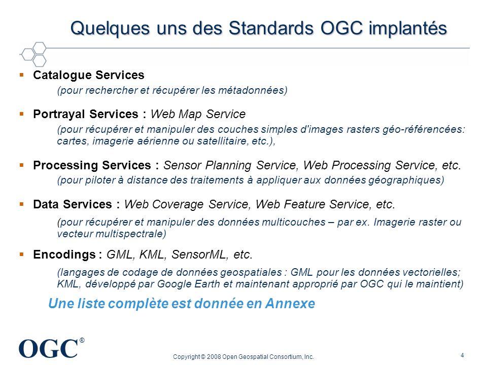 Quelques uns des Standards OGC implantés