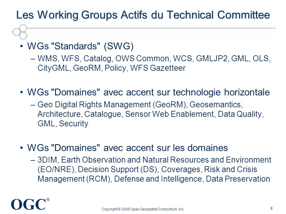 Les Working Groups Actifs du Technical Committee