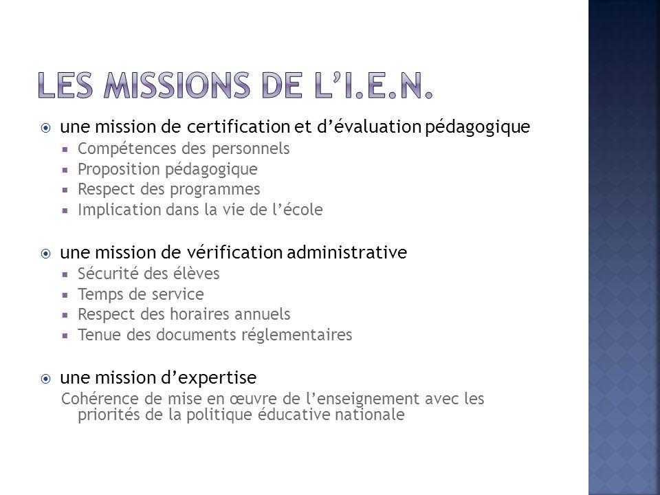 Les missions de l'I.E.N. une mission de certification et d'évaluation pédagogique. Compétences des personnels.
