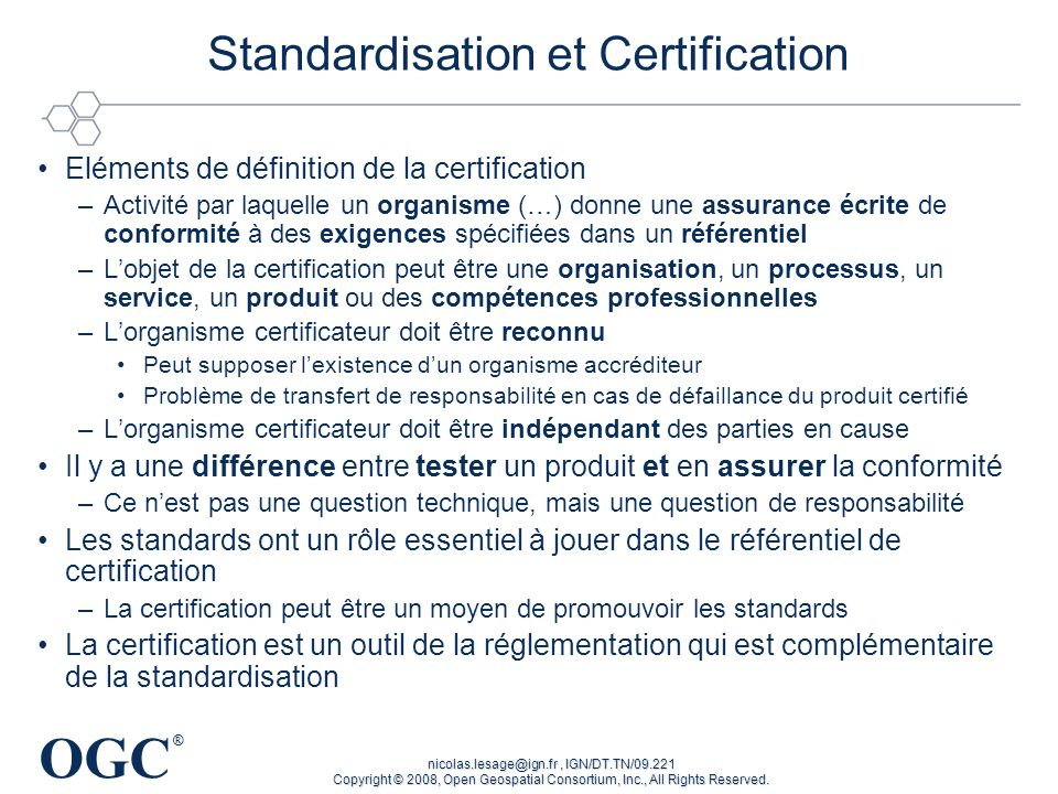Standardisation et Certification
