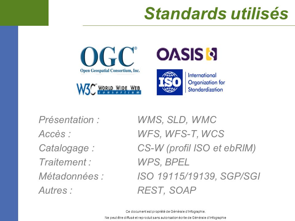 Standards utilisés Présentation : WMS, SLD, WMC