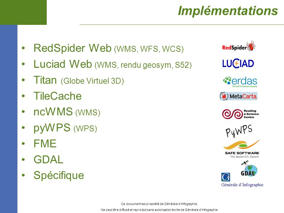 Implémentations RedSpider Web (WMS, WFS, WCS)