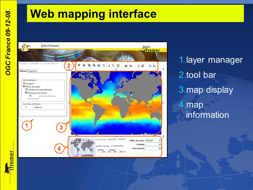 Web mapping interface layer manager tool bar map display