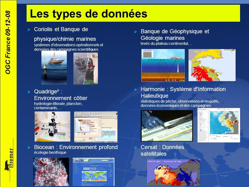Les types de donnéesCoriolis et Banque de physique/chimie marines systèmes d observations opérationnels et données des campagnes scientifiques.