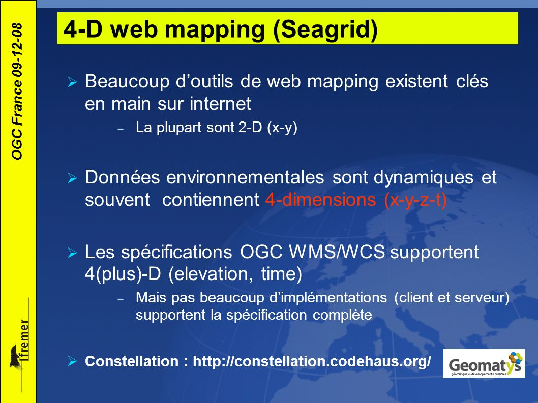 4-D web mapping (Seagrid)