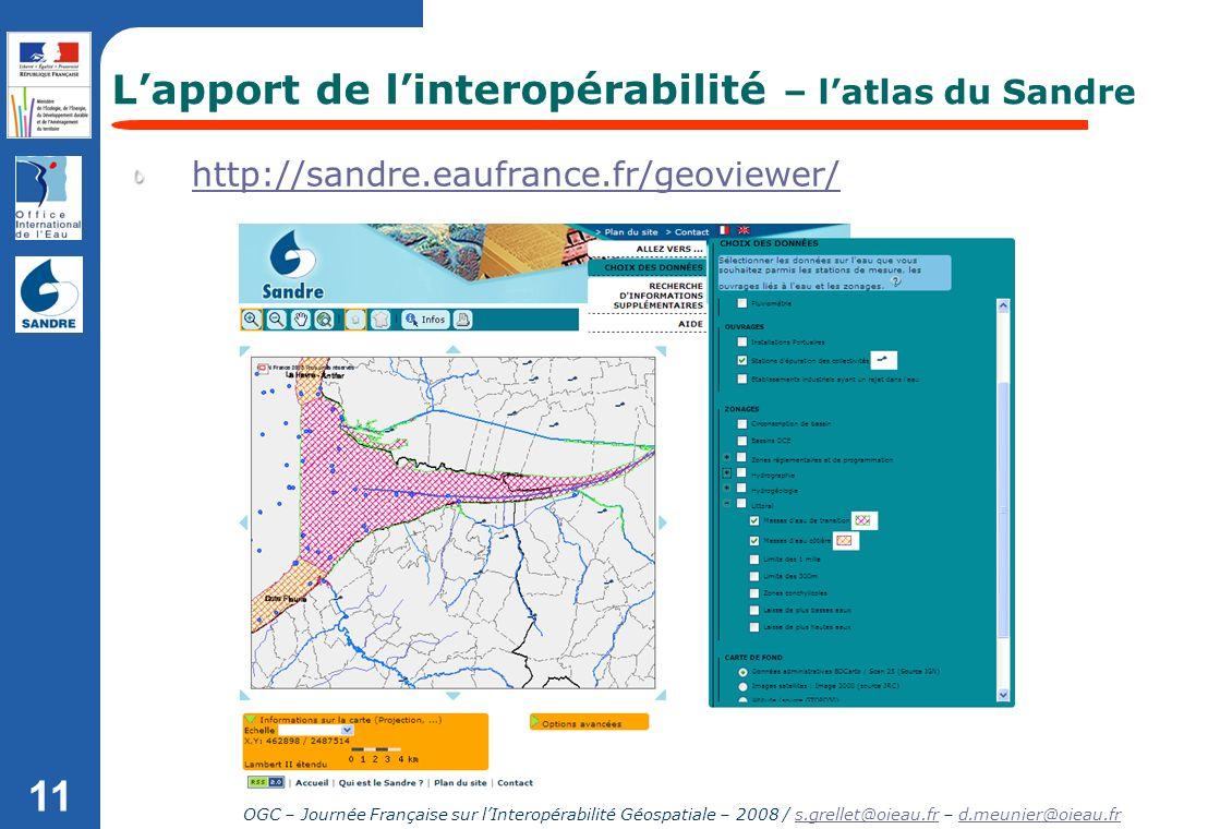 L'apport de l'interopérabilité – l'atlas du Sandre