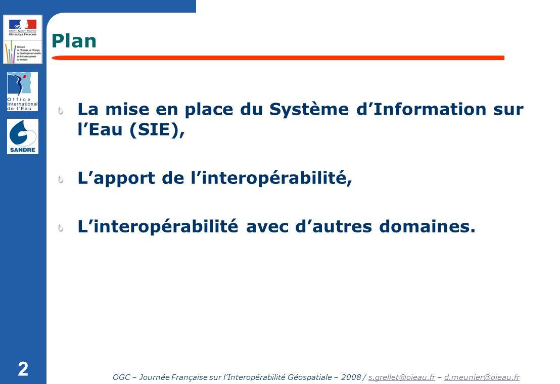 Plan La mise en place du Système d'Information sur l'Eau (SIE),