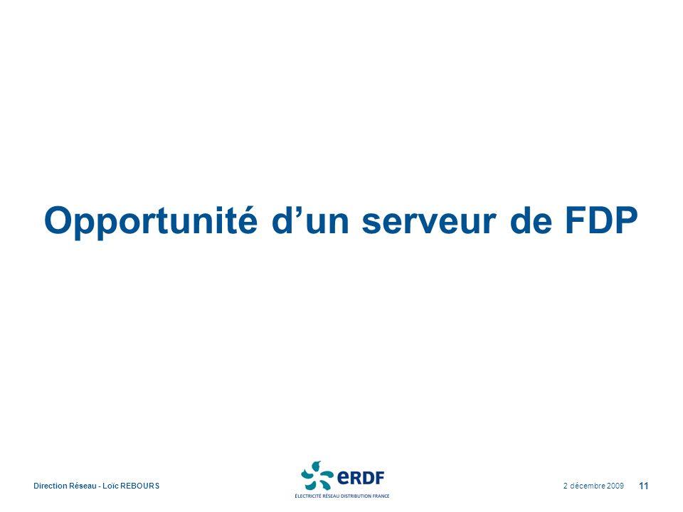 Opportunité d'un serveur de FDP