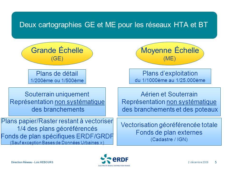 Deux cartographies GE et ME pour les réseaux HTA et BT