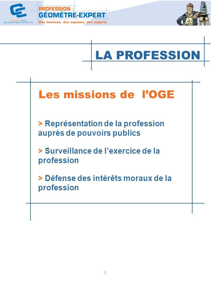 LA PROFESSION Les missions de l'OGE