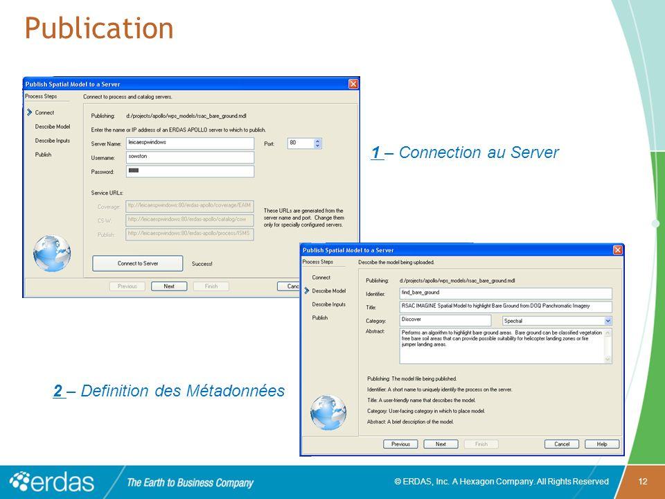 Publication 1 – Connection au Server 2 – Definition des Métadonnées