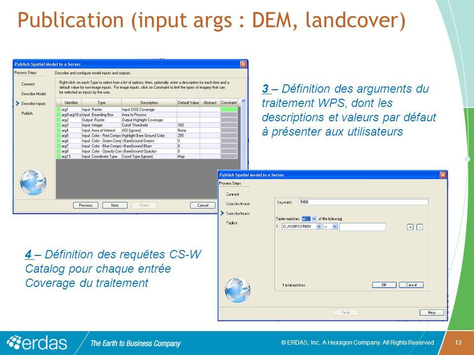 Publication (input args : DEM, landcover)